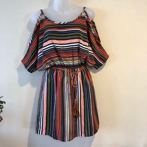 Swell cold shoulder dress bright stripes